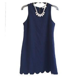 Cute navy scalloped hem sleeveless dress, XS